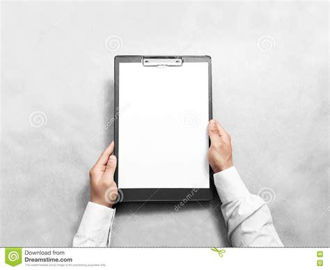 hand holding blank clip board  white paper design