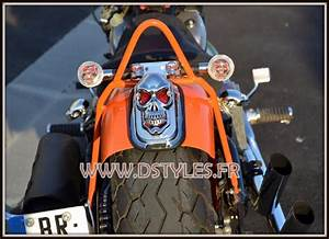 Feu Stop Moto : support de plaque feu stop t te de mort skull pour moto custom trike ~ Melissatoandfro.com Idées de Décoration