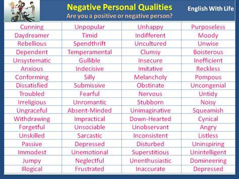 negative personal qualities vocabulary home