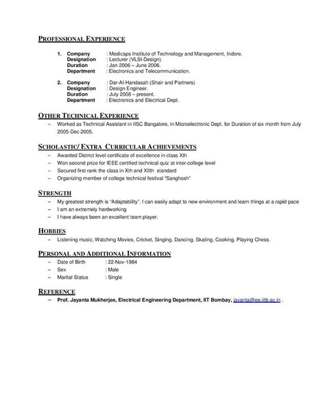 Hobbies Extracurricular Activities Resume by Gtu Engineering Material March 2013