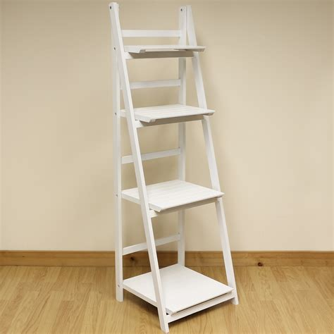 4 Tier White Ladder Shelf Display Unit Free Standing