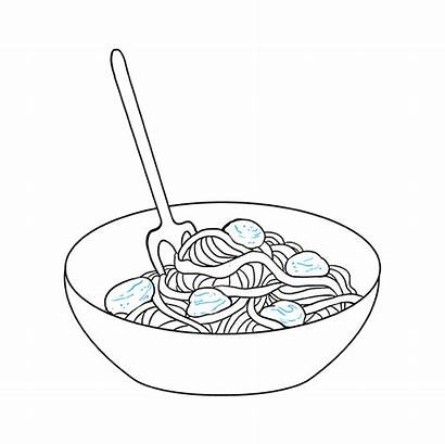 Spaghetti Draw Easy Drawing Bowl Drawings Step