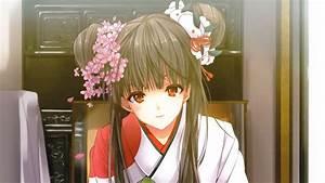 Anime, Girls, Black, Hair, Faces, Flower, Petals, Flowers, Hair, Bun, Hair, Ornaments, Indoors, Japanese
