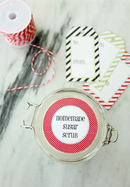 homemade sugar scrub   printable tags  labels
