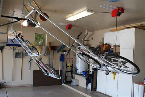 Ceiling Bike Rack Horizontal by Motorized Horizontal Bike Lift Garage Ideas