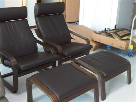 ikea recliner chair singapore ikea poang leather lounger n footstool for sale in