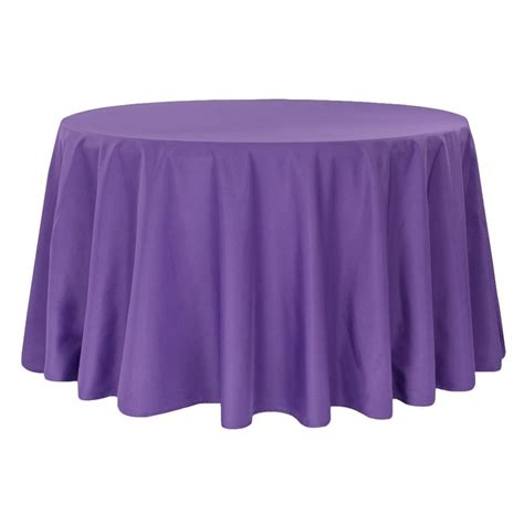 "Economy Polyester Tablecloth 120"" Round Purple CV Linens"
