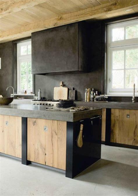 cuisine bois brut armoire cuisine contemporain noir et bois naturel