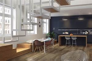 Salle a manger contemporaine design bois parquet escalier for Idee deco cuisine avec meuble salle a manger contemporain massif