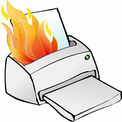 Printer Clip Burning Fire Clipart Clker Svg