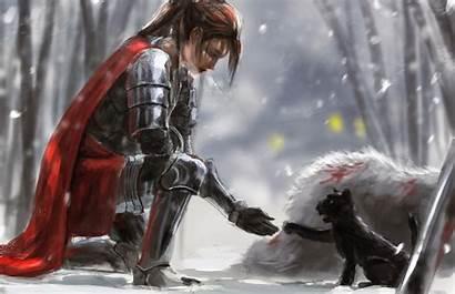 Knight Warrior Fantasy Woman Kneeling Armor Cat