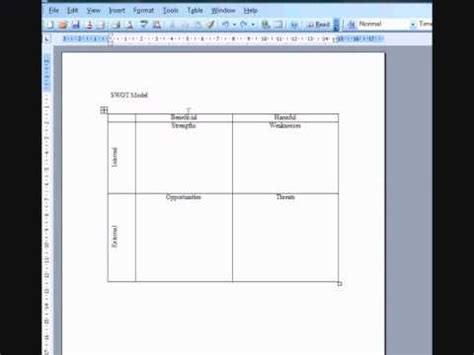 swot analysis created  ms word  swot