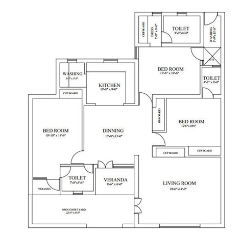 Floor Plan Autocad 2d Drawing Civil Autocad Interior