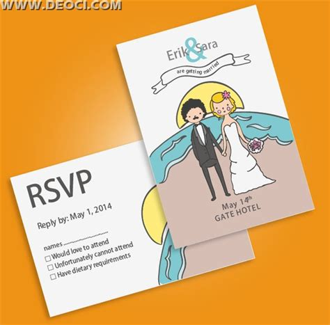 Wedding Invitation Postcards Vector Design Template Free