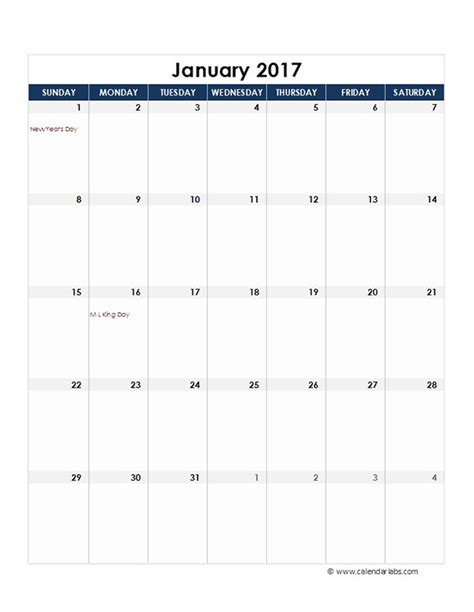 2017 calendar template excel 2017 excel monthly calendar template free printable templates