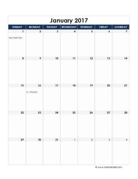 2017 Calendar Template Excel 2017 Excel Monthly Calendar Template Free Printable