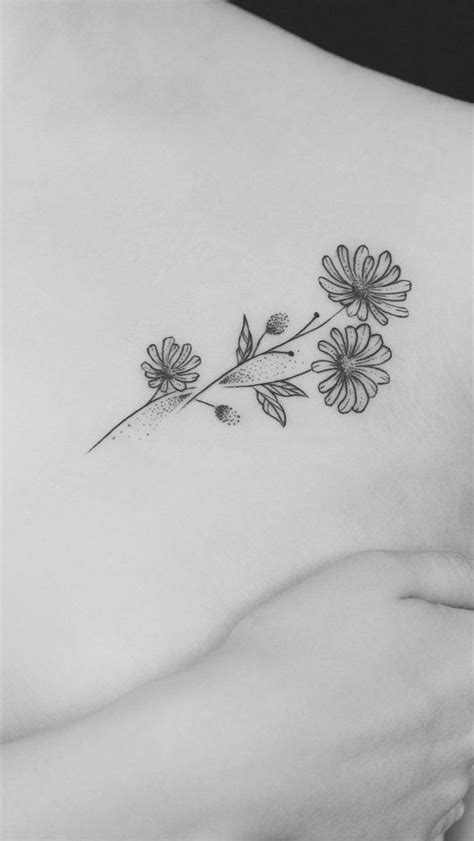 Minimalist Aster (sept birth flower) tattoo w/Addy's finger print & name written in the stem