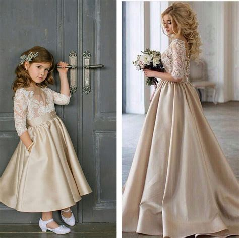 cute champagne satin flower girl dress  lace appliques