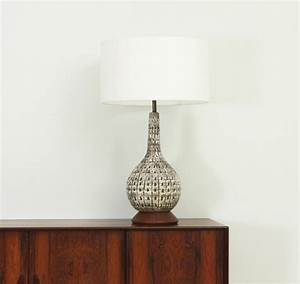 Mid century large american glazed ceramic table lamp for Z gallerie century table lamp