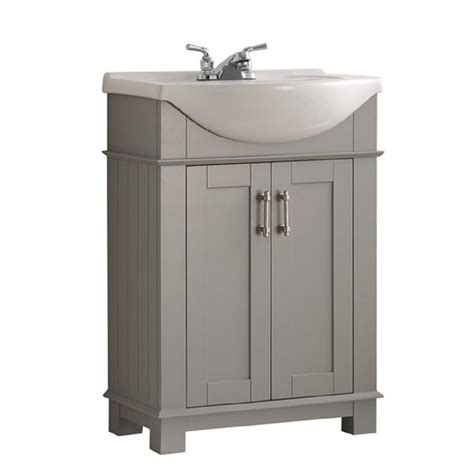 fresca hudson 24 in w traditional bathroom vanity in gray with ceramic vanity top in white with