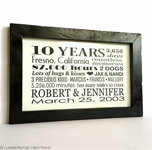 10 year anniversary gift personalized anniversary gift for him With 10 year wedding anniversary gifts for her