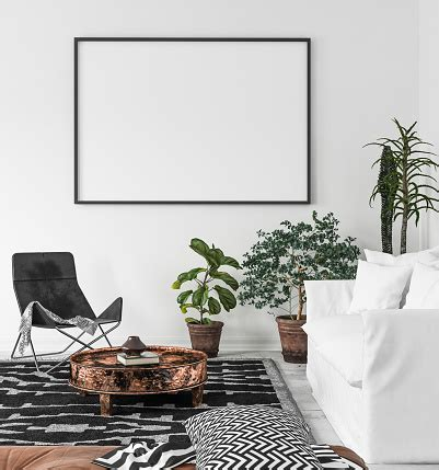 Designing a poster for a living room, heck, even a dining room, is one thing, but making sure everything fits the end product is another story. Mockup Poster Frame In Living Room Background Scandiboho Style Stock Photo - Download Image Now ...