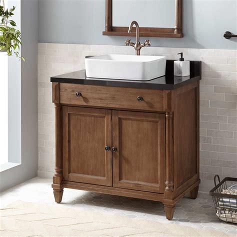 neeson vessel sink vanity rustic brown bathroom
