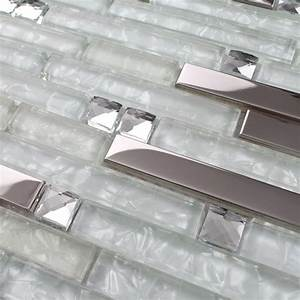Strip silver stainless steel mixed clear glass mosaic for Clear glass tile backsplash pictures