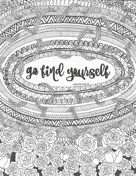 find  quote digital print adult coloring page