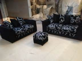 types of sofasets zina dylan three seater and two 3 2 seater sofa set in fabric in black grey colour area 1