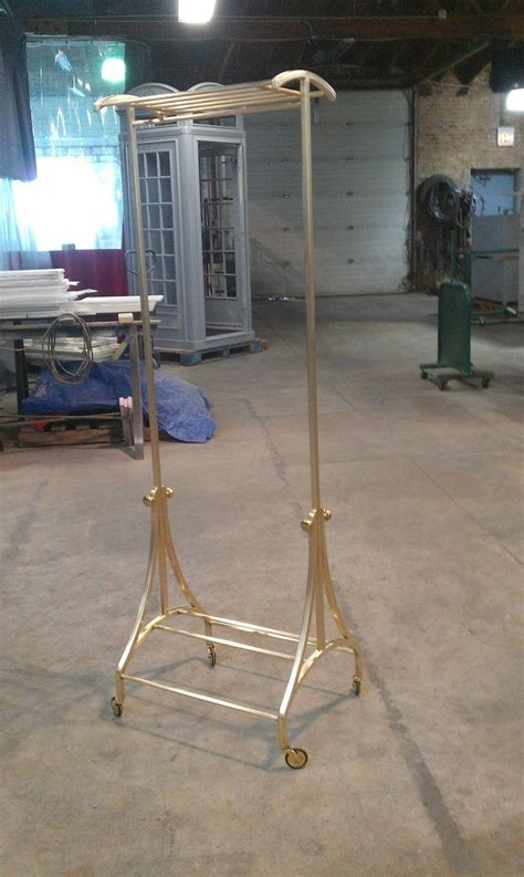 brass clothing rack made custom brass and bronze rolling clothing rack by