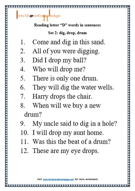 Letter Sentences by Kindergarten Reading Practice For Letter Quot D Quot Words In