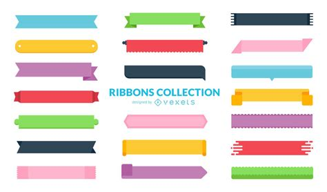 Ribbon Flat flat ribbon collection vector