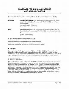 contract for the manufacture and sale of goods template With sale of goods agreement template