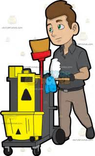 Janitor Cleaning Cart Clip Art
