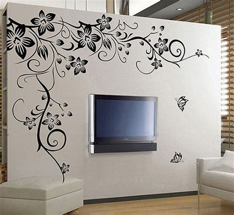 large black vine flower rattan butterfly removable vinyl