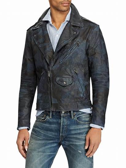 Leather Jacket Biker Polo Camo Ralph Lauren