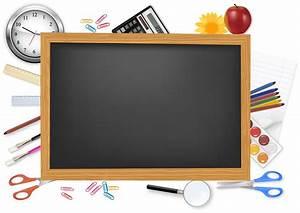 Free Vector がらくた素材庫: 黒板と文房具のクリップアート school supplies and ...