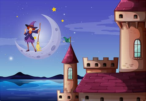 witch   broomstick standing   castle