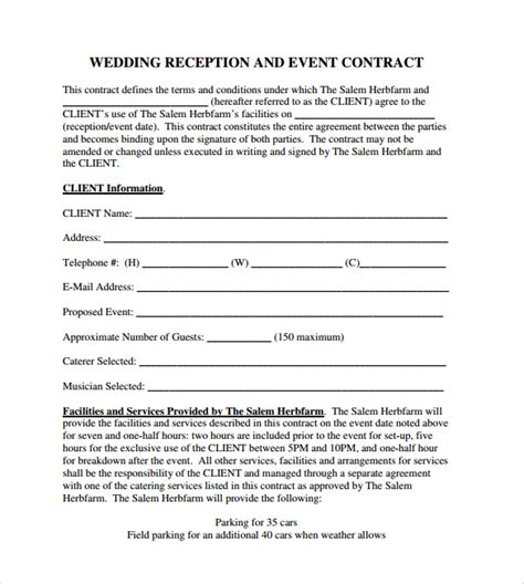 event contract templates     sample
