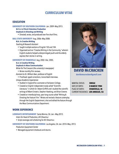 Cv Resume by Curriculum Vitae Resume Cv