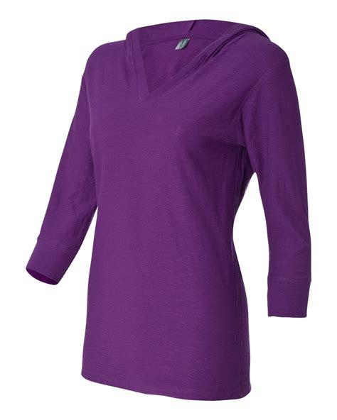 ladies tee slub three sleeve hooded quarter america clothingshoponline jersey soften touchable outlook sleeves trendy shirts hanging wire