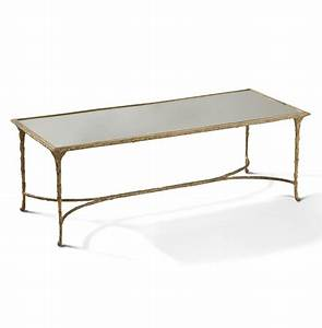 delano hollywood regency antique gold sculpted leaf With gold and mirror coffee table