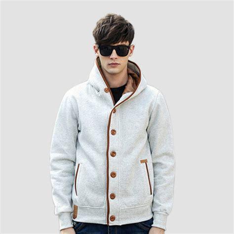 Plus Size 2016 Autumn Winter Fashion Men Fleece Elbow Patch Hooded Single Breasted Hoodies Male ...