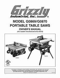 Grizzly G0869 2 Hp Benchtop Table Saw Owner Manual