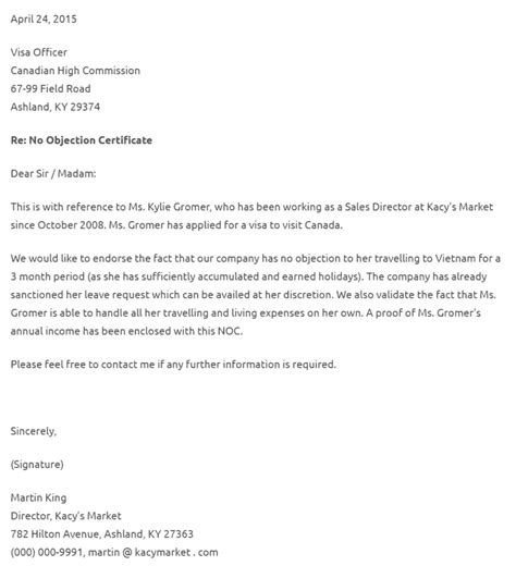 objection letter  company
