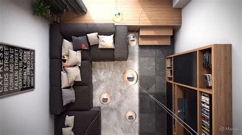 Living Room Birds Eye View by Loft Design Inspiration