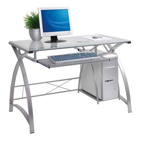white computer desk with glass top white desk glass top images