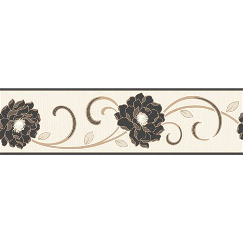 Fine Decor Florentina Wallpaper Border Cream / Black