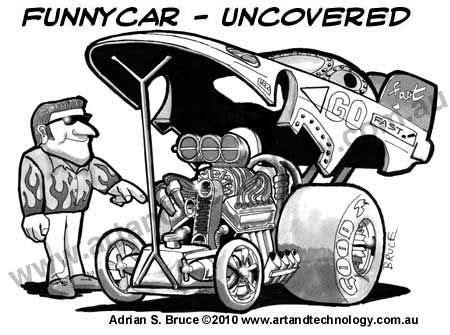 drag racing cartoons funny car cartoonunder  hood